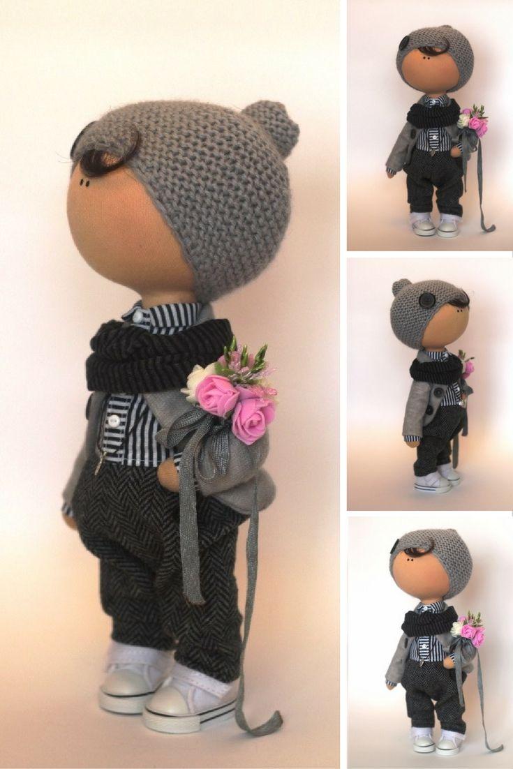Boy doll Tilda doll Teenager doll handmade grey black color Soft doll Fabric…