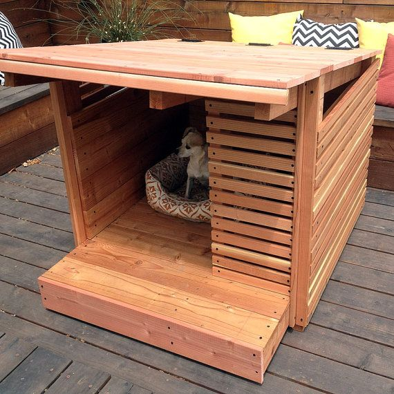 This Redwood dog house was custom made for a StrongWood Studio client but we can make them to order if you would like one for your furry baby! The top is hinged so that you can lift it for cleaning. It has a porch and awning for sun bathing. The size can vary depending on the size of your doggie. This one is 41 x 41 and 41 inches tall at the highest point. Free delivery in the San Francisco Bay area. I can ship a small version of this house for the listed price. (for small dogs like…