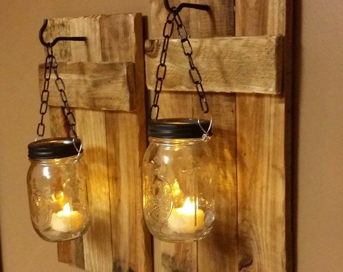 Rustic Decor, Mason Jar Candles,Candle holders, Rustic Wood Decor, Sconces, Rustic Home Decor, Mason Jar Decor, gift, Farmhouse decor