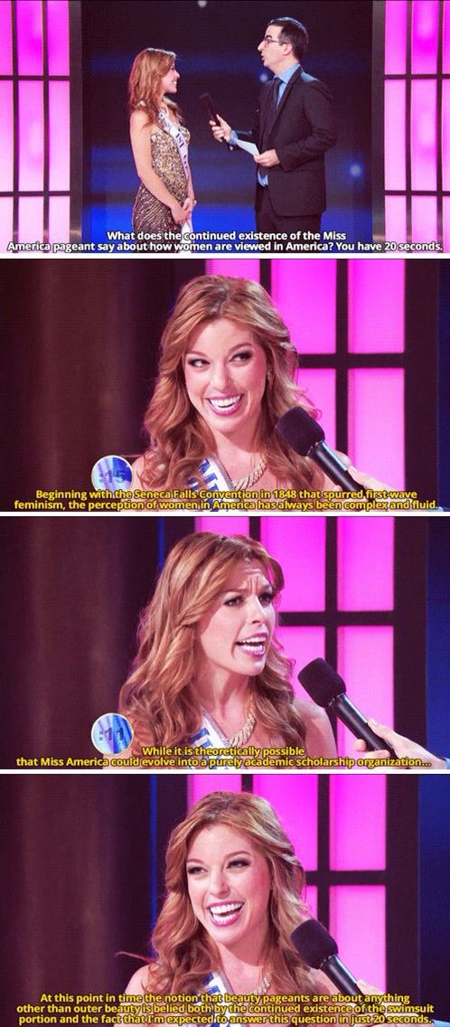 Watching the Miss USA competition and still thinking about this ICONIC ANSWER AT THE MISS AMERICA PAGENT.
