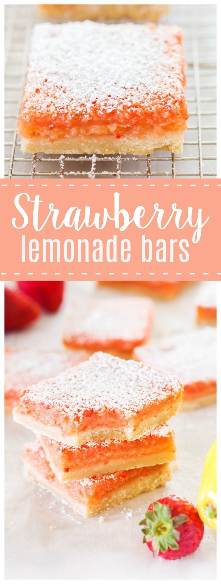 Strawberry Lemonade Bars | These Strawberry Lemonade Bars are a delicious bite of summer! Tangy lemonade and sweet strawberries make this a dessert you will be begging for seconds!