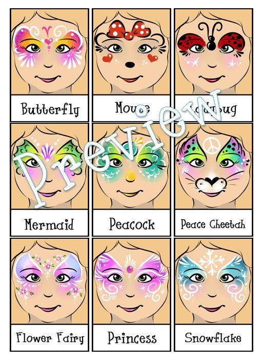 Face Painting Menu- 4 Page Bundle- Digital Download PDF and Individual PNG Files