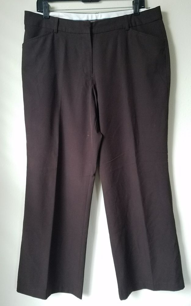 "Womens WORTHINGTON Petite Stretch Dress Pants - Size 14P - Brown, 29"" inseam 