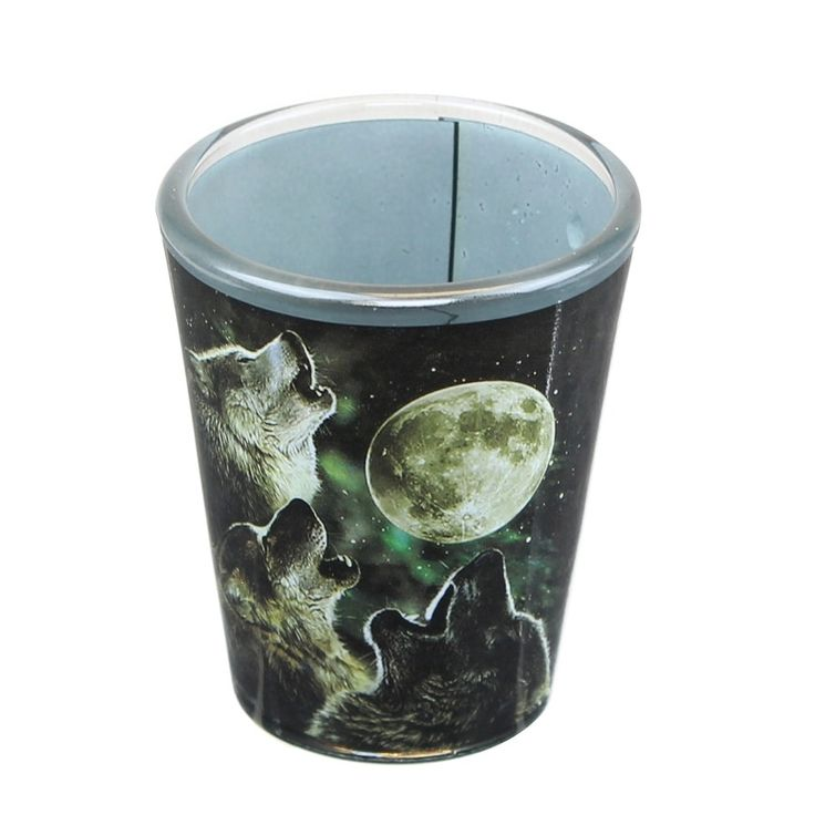 Just Funky Three Wolf Moon 2oz Shot Glass, Multi-Colored