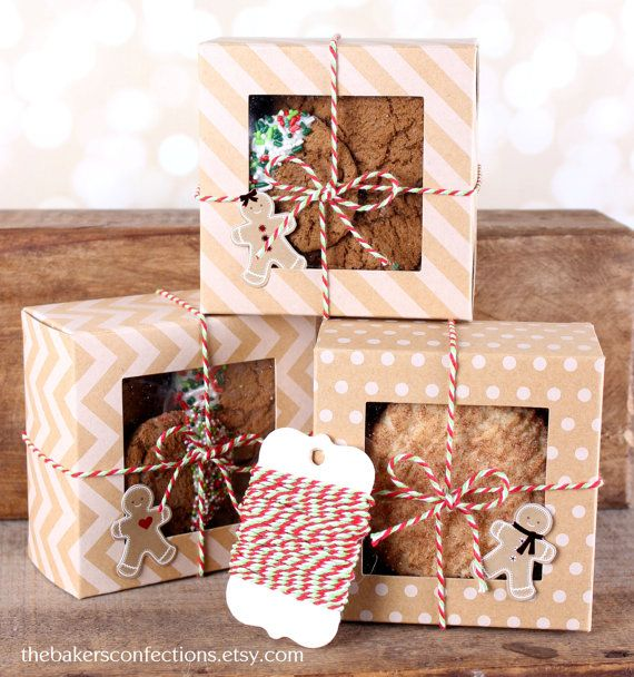 Christmas Treat Box Kit with 4x4x2 Kraft Brown Boxes in Dots, Stripe & Chevron, Bakers Twine, Gingerbread Man Tags (Set of 6) READY to Ship, $9.99