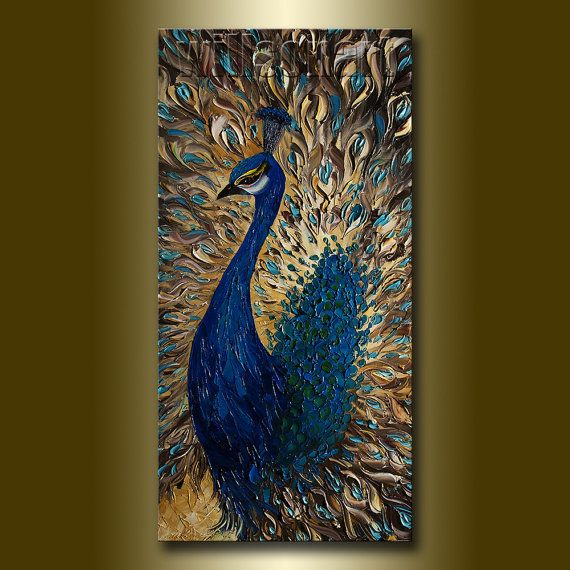 Original Peacock Oil Painting Textured Palette Knife by willsonart #laylagrayce and #bunnywilliamshome