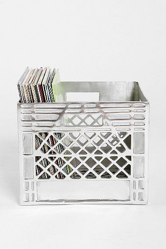 4040 Locust Metal Storage Crate:  Or maybe just take a plastic crate and paint it with metallic paint. I feel like that is a lot cheaper than $159...