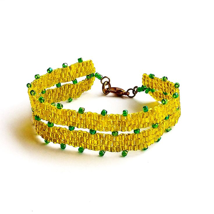 Yellow and Green Beaded Bracelet, Peyote Beading, Gift For Her, Costume Jewelry, Fall Gift, Autumn Gift, Golden Metallic Tube Seed Beads by LakeviewNeedlework on Etsy