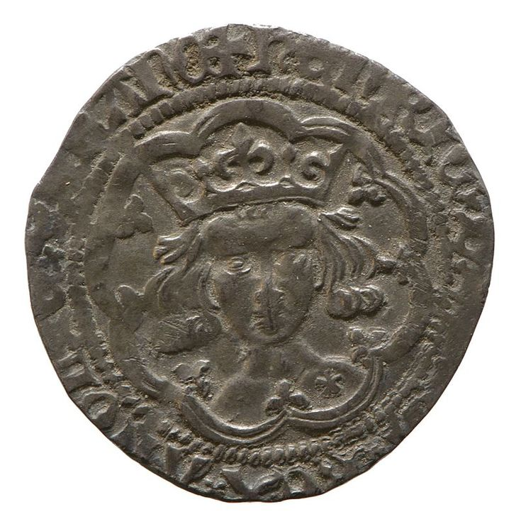 Silver groat of Henry V,By August,the English were outside the walls of Paris.The intrigues of the French parties culminated in the assassination of John the Fearless by the Dauphin's partisans at Montereau (10.09. 1419).Philip the Good, the new Duke,and the French court threw themselves into Henry's arms.After six months of negotiation,the Treaty of Troyes recognised Henry as the heir and regent of Fr.,and on 2.06.1420  at Troyes Cathedral,he married Catherine of Valois,the Fr.king's daug