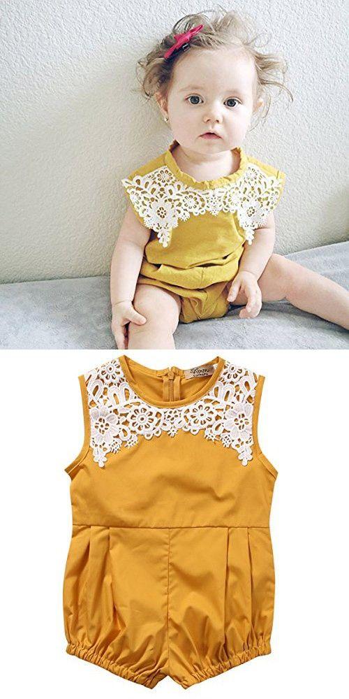 Cute Newborn Baby Girls Short Sleeve Lace Printing Zipper Romper Bodysuit (18-24months, Yellow)