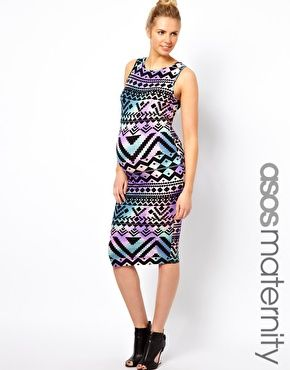 great print - ASOS maternity Aztec Print Midi Dress  #WTEStyle
