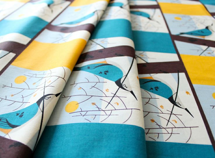 birch fabrics Charley Harper White Breasted Nuthatch