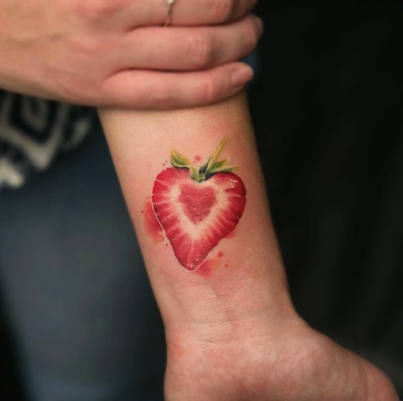 Strawberry tattoo from bangbangnyc Instagram