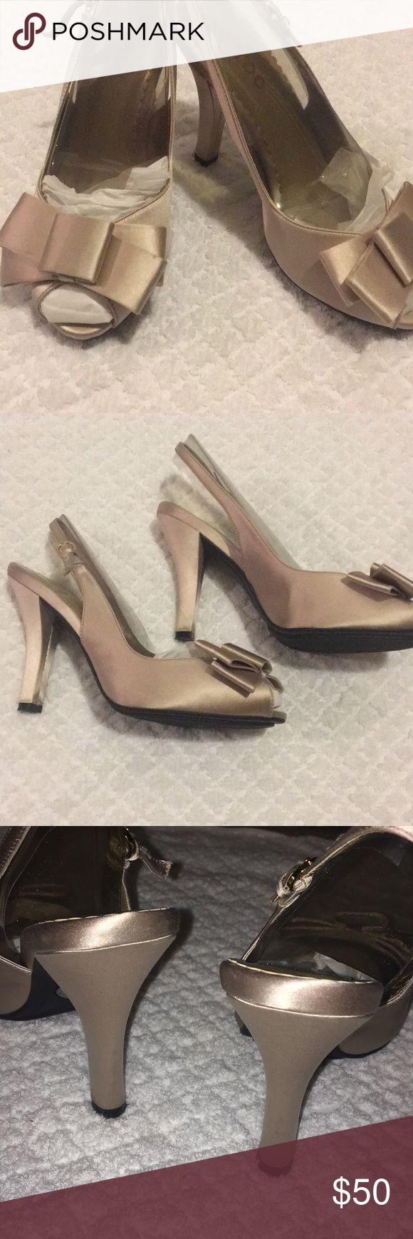Shoes Champagne color shoes, worn once on wedding day me too Shoes Heels