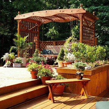 Cozy garden deck area