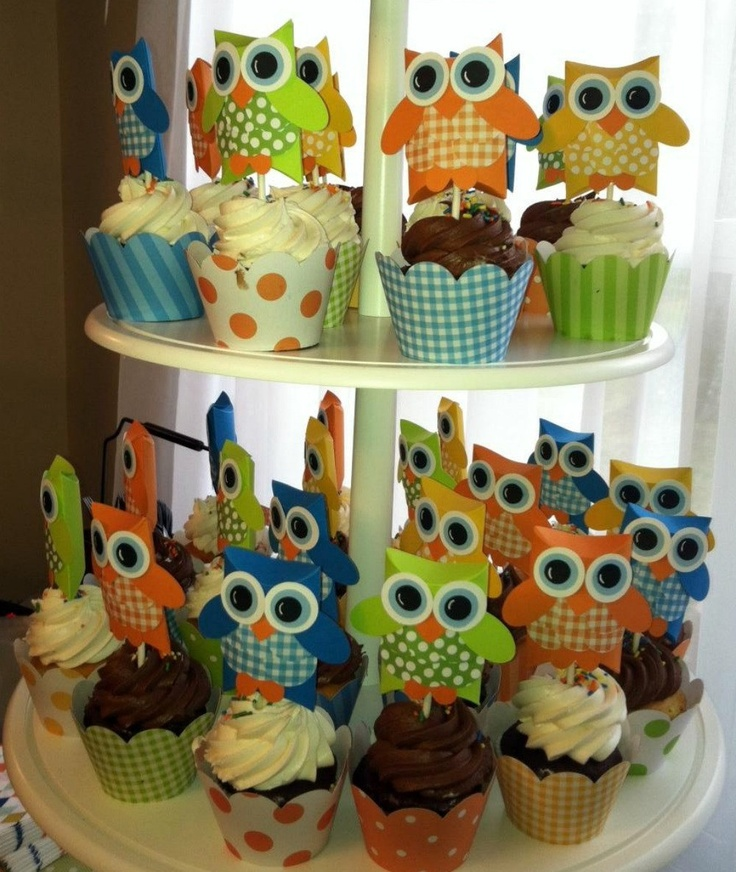 Owl Pillow Box Cupcake Toppers One Dozen by OneFantasticParty. $14.50 USD, via Etsy.