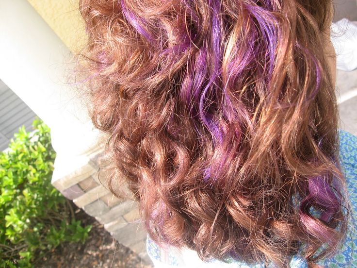 brown hair purple highlights underneath