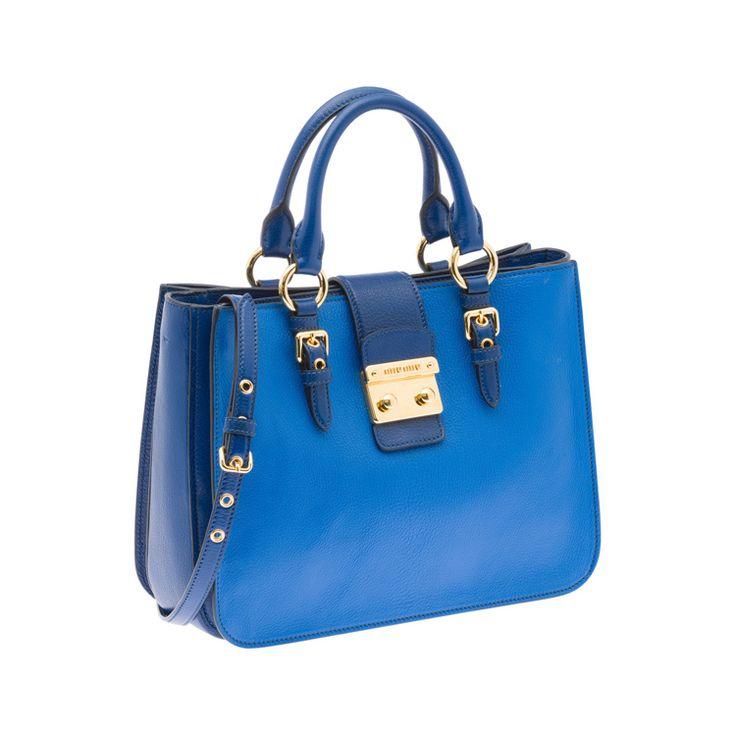 Miu Miu RN0882 2A11 F0OHI Madras Bicolore Tote – Cobalt Blue