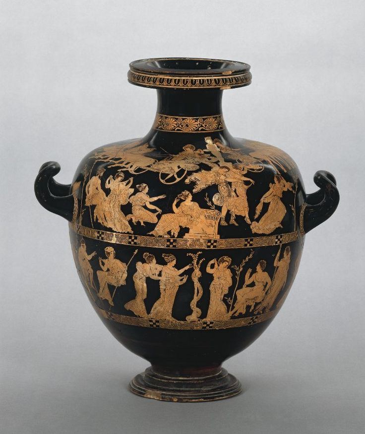 Pottery: red-figured hydria (water-jar): above, the Rape of the daughters of Leuchippos by the Dioskouroi, Kastor and Polydeukes; below, Herakles in the Garden of the Hesperides with Attic heroes and others.