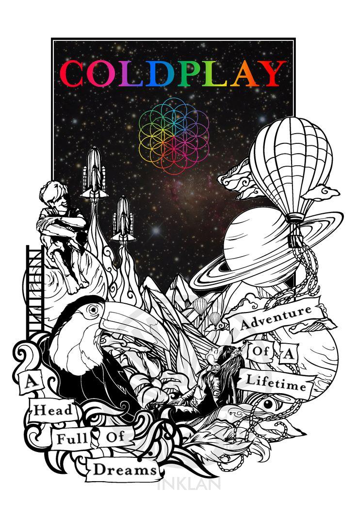 """Arte para playera del albúm """"A head full of dreams"""" de Coldplay"""