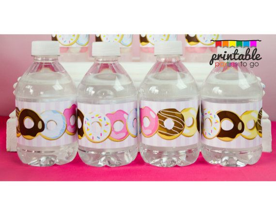 INSTANT DOWNLOAD DONUT Party Water Bottle Labels - Please Read Description Thoroughly - Printable Parties to Go