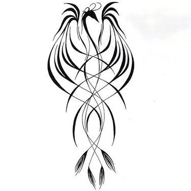 Line Phoenix Tattoo Design