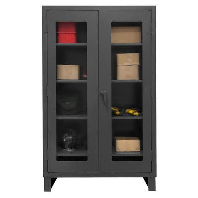 """Durham Manufacturing Extra Heavy Duty Welded 12 Gauge Steel Clearview Lockable Storage Cabinet Size: 78"""" H x 48"""" W x 24"""" D"""