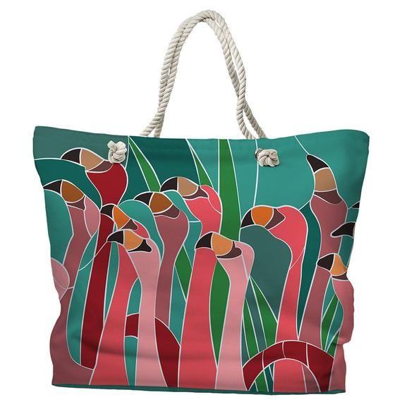 Flamingo-Spaziergang-Einkaufstasche, Strand-Einkaufstasche, Küsten-Einkaufstasche, tropische Einkaufstasche, Flamingo-Tragetasche