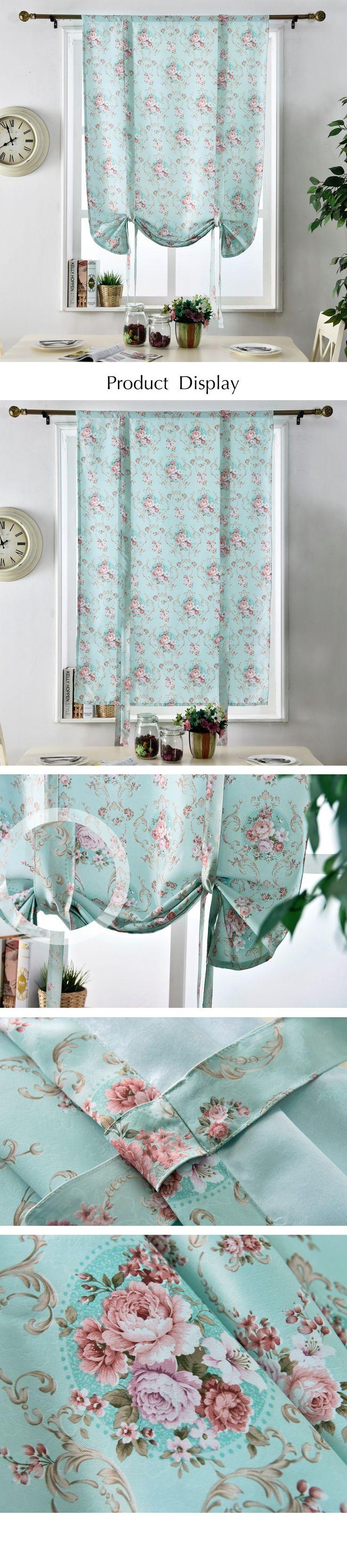 Цветочные римские шторы короткий кухня двери шторы плотные тени короткие обработки окна современной гостиной спальня панели рустик купить на AliExpress