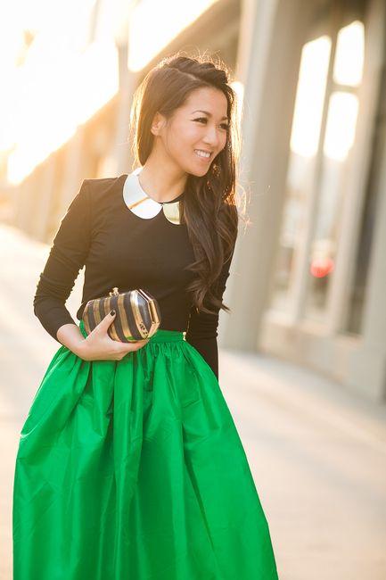 Spring Garden :: Emerald full skirt & Floral pumps - Wendys Lookbook