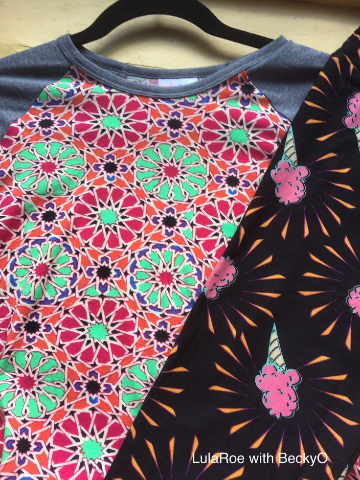 LulaRoe pattern matching ice cream leggings with Randy T