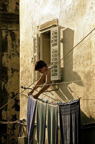 Ragusa Sicily Hanging the Washing