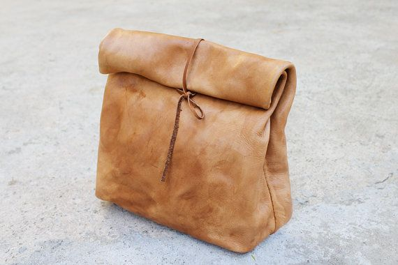 "I love how this leather ""paper bag"" ties shut. -Leather Paper Bag by YVNLeather on Etsy, $140.00"