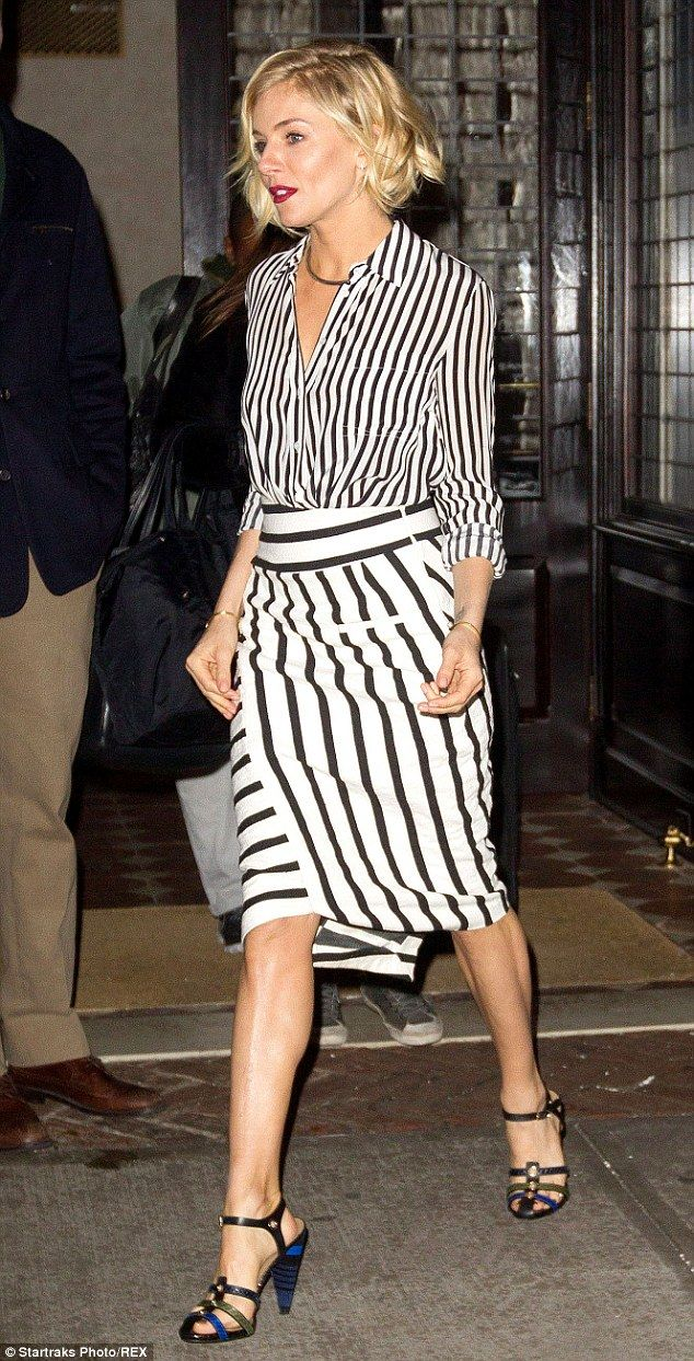 Sienna Miller in Altuzarra shirt and skirt, Sonia Rykiel shoes, Jennifer Fisher necklace - 'The Daily Show With Jon Stewart' in New York City. (January 15, 2015)