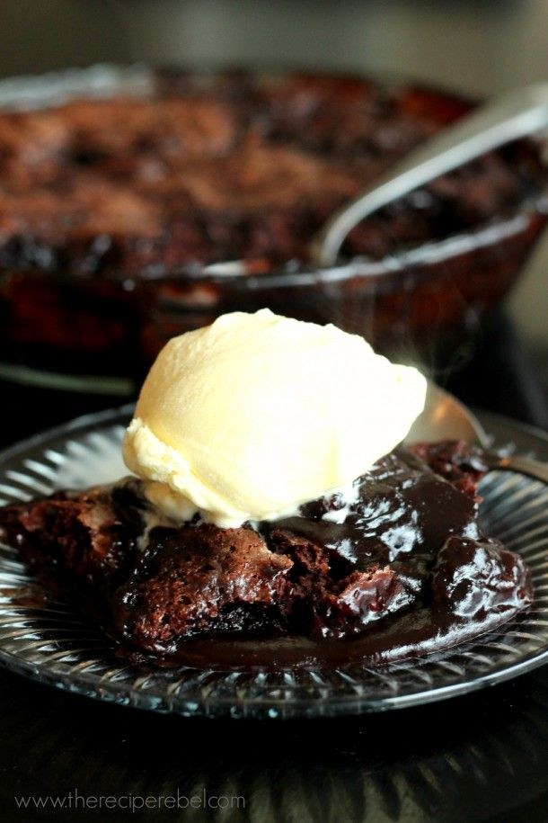 Grandma's Hot Fudge Sundae Cake -- ready for the oven in 10 minutes! This cake creates its own hot fudge sauce as it bakes.
