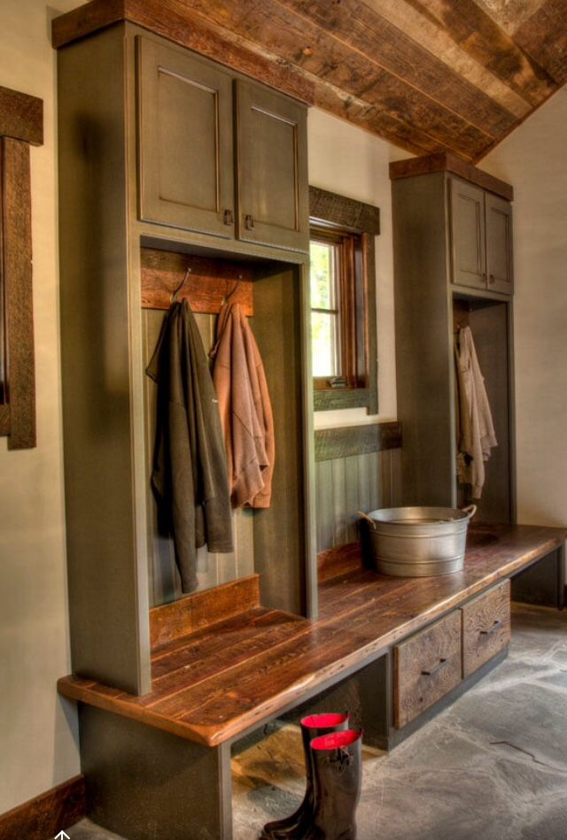 Mudroom/Laundry Combo. 4 cubbys, half with drawers