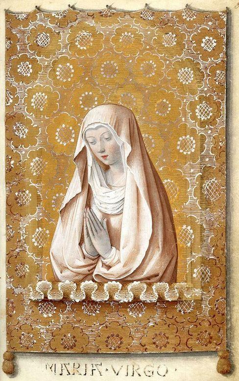 """Heures de Charles VIII, Jean Bourdichon and his atelier: """"Vierge en oraison"""" (XVe c., France)"""