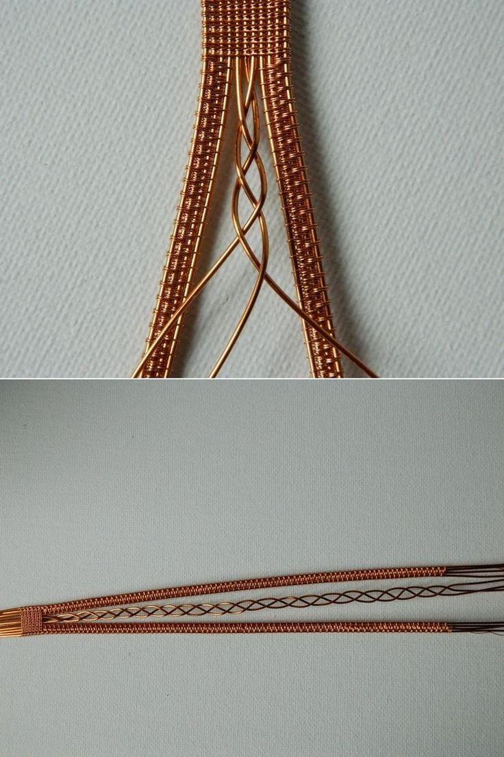 Браслет из проволоки в скандинавском стиле. Плетем косичку из трех средних проволочек.