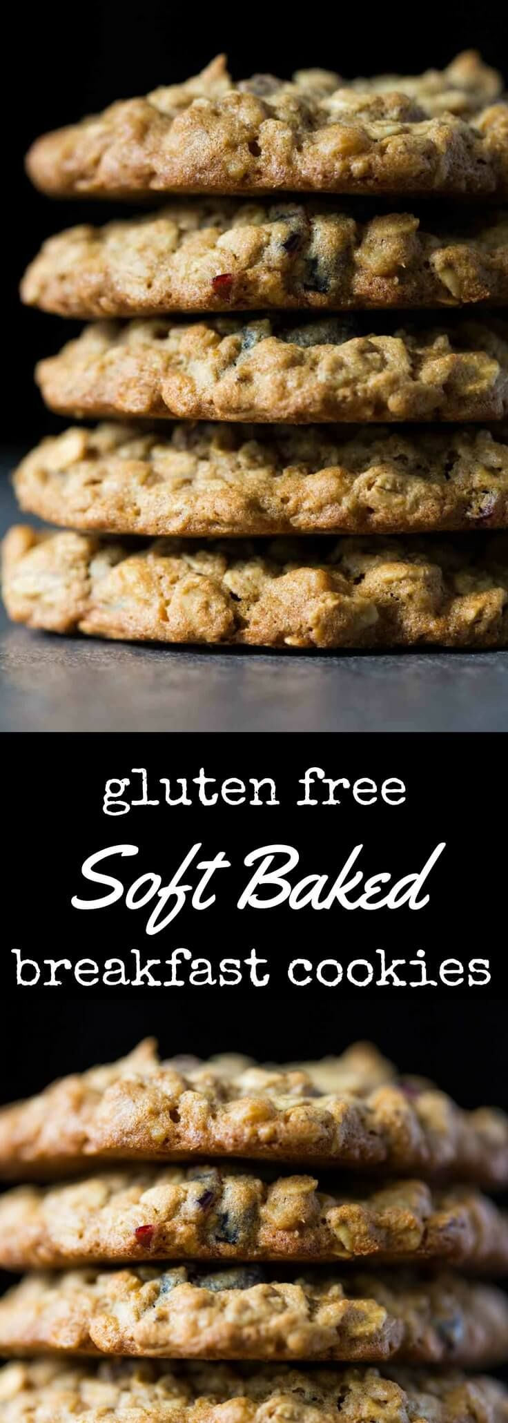 You can't miss with these soft baked gluten free breakfast cookies, because a cookie breakfast is always the best breakfast. Chewy, soft, and filled with good stuff like extra thick rolled oats, walnuts, dried cranberries, and golden flaxseed meal. via @recipeforperfec @bobsredmill #glutenfree #ad #breakfast #cookies