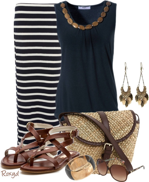 """""""Stripped maxi skirt"""" by roxyd ❤ liked on Polyvore"""