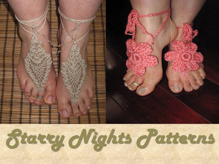 Crochet Barefoot Sandals Pdf Pattern Flower And Pineapple