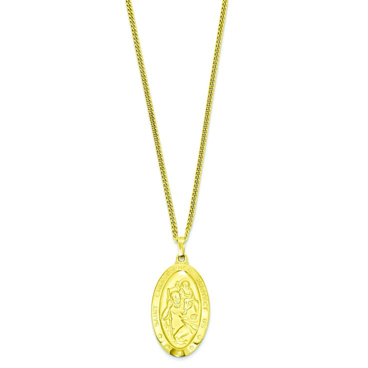 24in Gold-plated Large Oval St. Christopher Medal Necklace