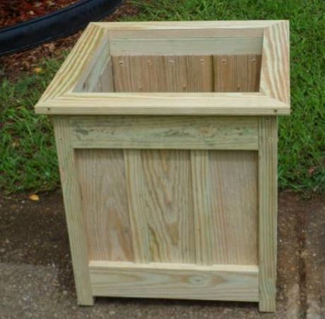 Diy single planter box made of pressure treated wood gardening pinterest planters woods for Pressure treated wood for garden