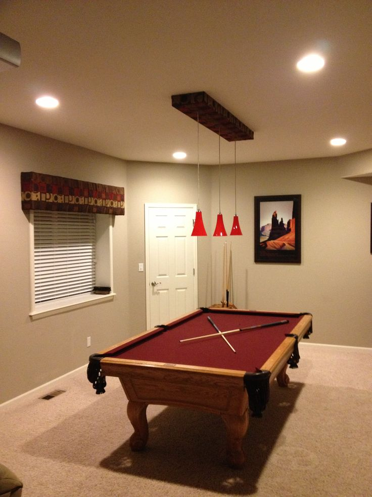 Accessories & Furniture, Vintage Pool Table Design With Cool Natural Varnished Wooden Pool Table On Combined Red Pool Table Cloth And Dazzling Red Pendant Lamp Also Gorgeous Ceiling Lamp On White Ceiling Plus Cozy Beige Rug For Comfortable Billiard Room Decor: Cool Pool Table Design Ideas