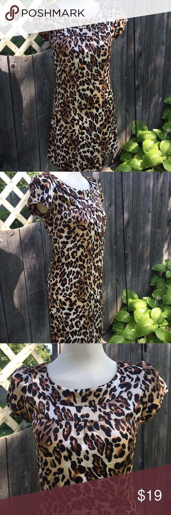 "Forever 21 Cheetah Print Dress Super cute Cheetah Print Dress with Peter Pan collar and satin....so vintage! 17""+ p2p. 33"" long Like brand new. Forever 21 Dresses Mini"
