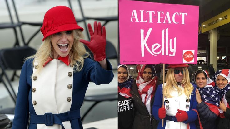 Impersonation of political figures — notably Kellyanne Conway and Betsy DeVos — is part of Michael Hisey's unique approach to protesting.