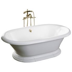 Vintage White Cast Iron Oval Pedestal Bathtub with Back Center Drain (Common: 42-in x 72-in; Actual: 21.19-in x 42-in x 72-in)