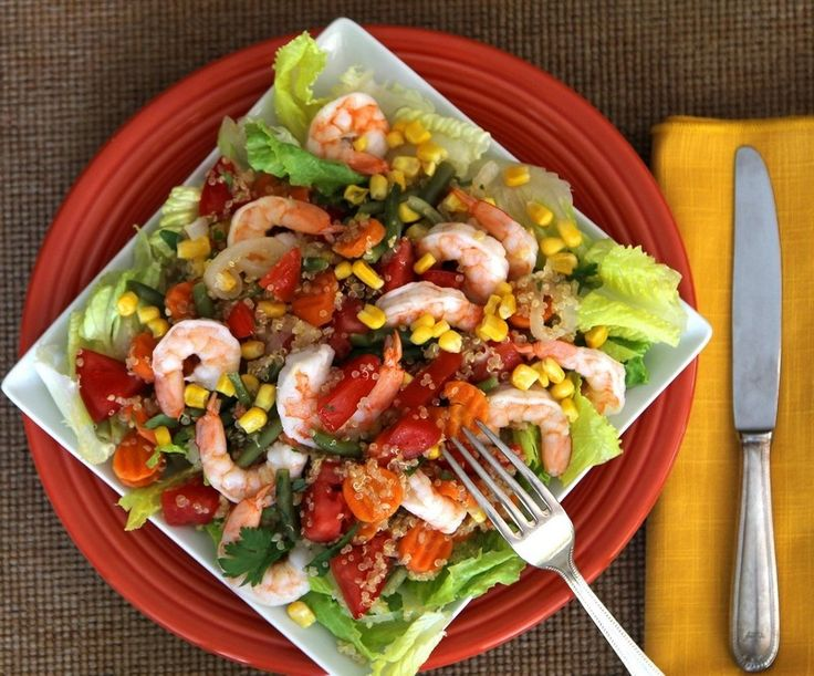 Chilean quinoa salad includes shrimp and vegetables mixed with the ancient and now-trendy grain.