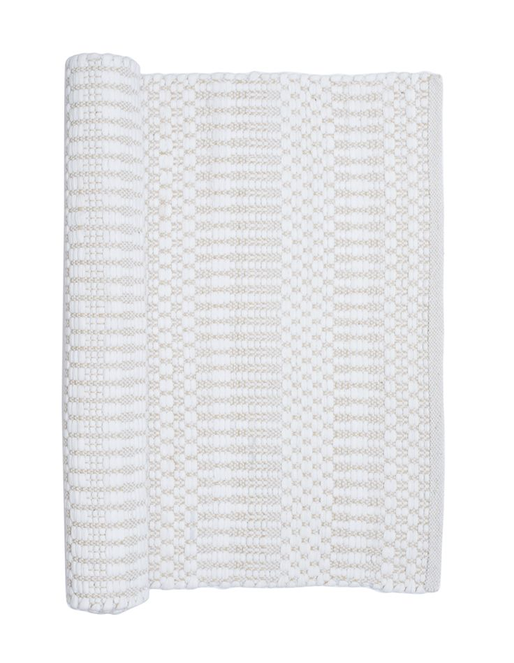 Ella beige and white geometric Scandinavian rag rug and hallway runner from Skandihome, home of Swedish and Scandinavian rugs and gifts