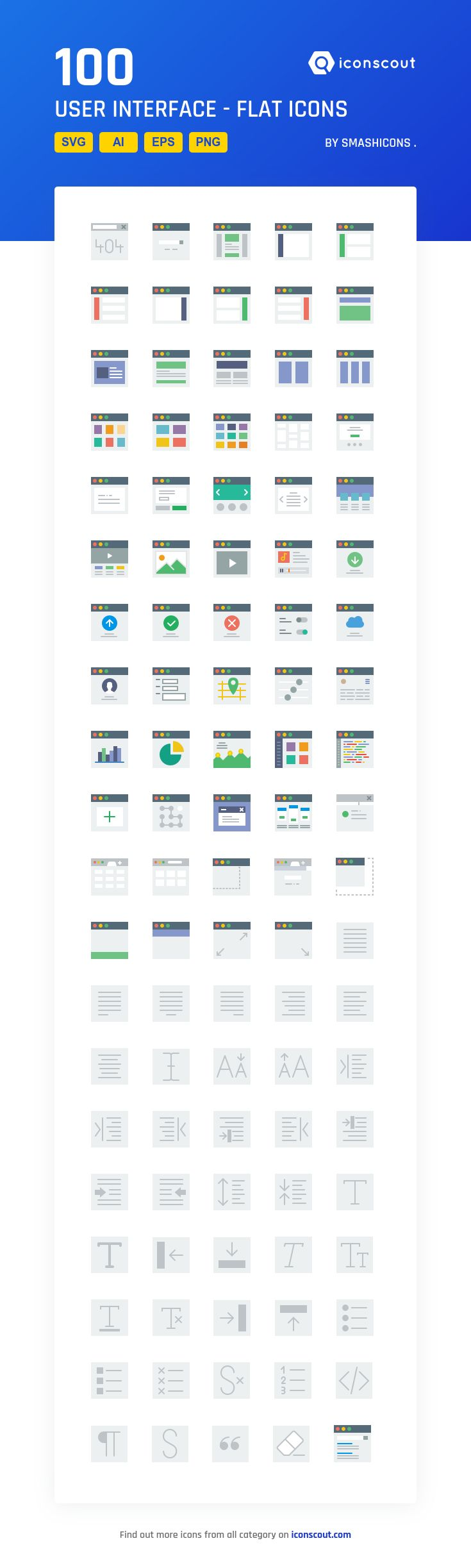 User Interface - Flat  Icon Pack - 100 Flat Icons